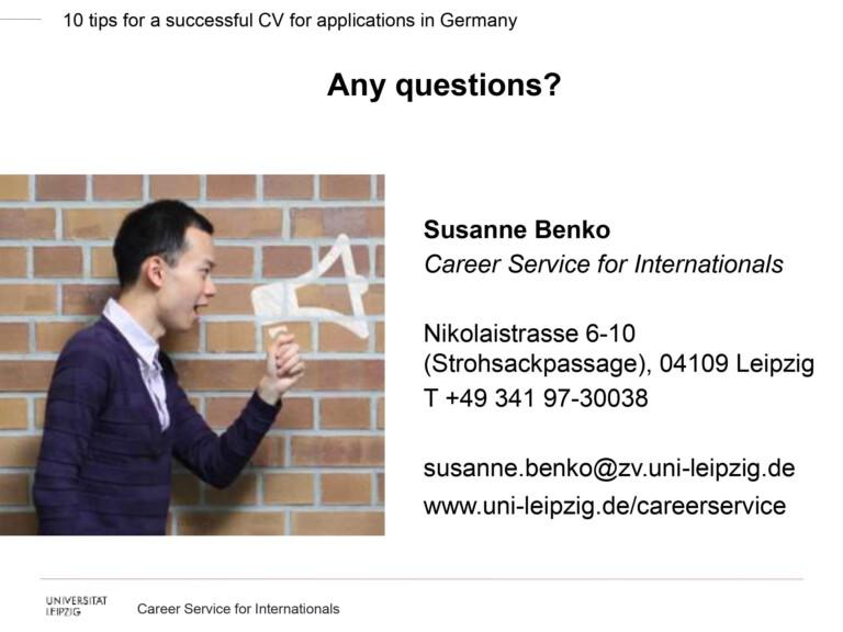 Slide from Leipzig Career Hacks vol. 1: CV by Susanne Benko