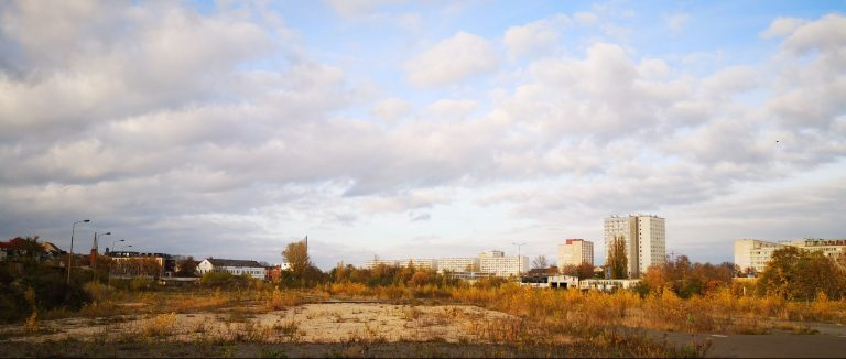 Picture of the brownfield by the students' group showing streets and public places