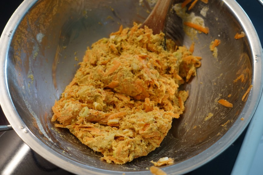 Carrot and chickpea flour fritter batter