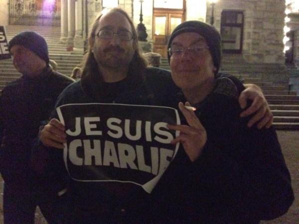 Mark Leiren-Young & Ian Ferguson @ Charlie Hebdo rally in Victoria, BC.