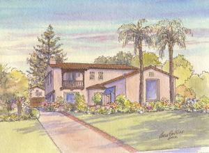 House portrait of Spanish Revival house in South Pasadena, CA