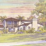 Painting of Spanish Revival home in Pasadena, CA
