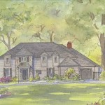 House portrait painting of modern home in McLean, VA