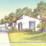 House portrait painting of Spanish Revival bungalow in Atwater Village
