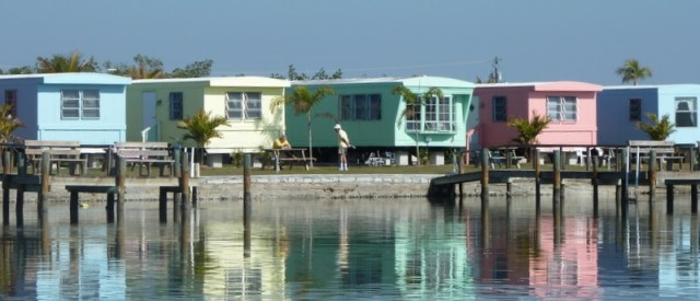 Florida cottages on beach inlet