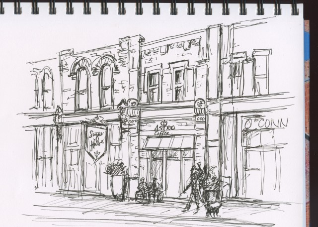 Leisa Collins stopped for a coffee, but sketched it first! Nice historic rehab'ed San Antonio building