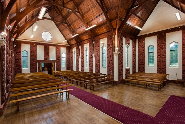 The interior of the Toko Toru Tapu Church was restored to how it was in 1913.