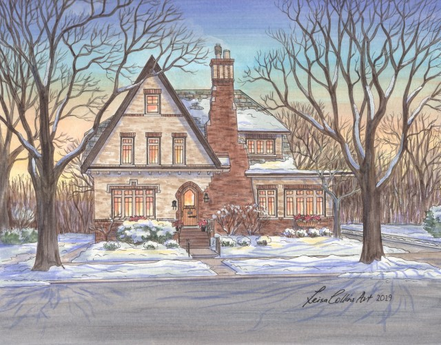 Tudor House Portrait in the snow, Chicago IL