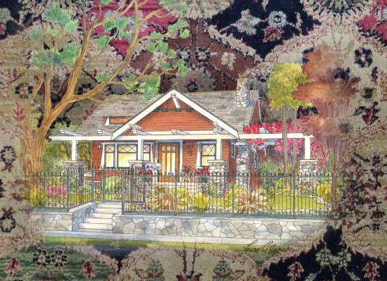 Arts and Crafts Tapestry - Craftsman Era Collage Art by Leisa Collins