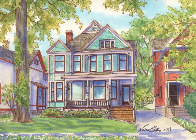 The original Heritage Hill House Portrait painting - in the spring!