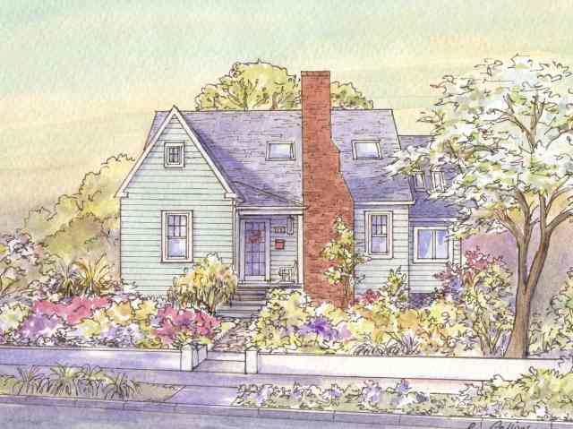 Tudor bungalow sits in its cheery gardens on West Windsor Avenue, Alexandria