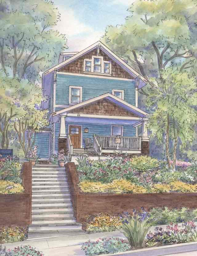 Craftsman Foursquare home on Mount Ida Avenue sits on hill above its garden in home portrait