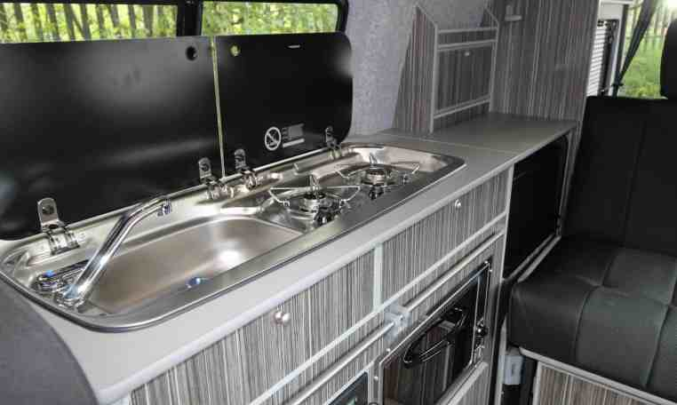 Kitchen area in Crusader Campervan