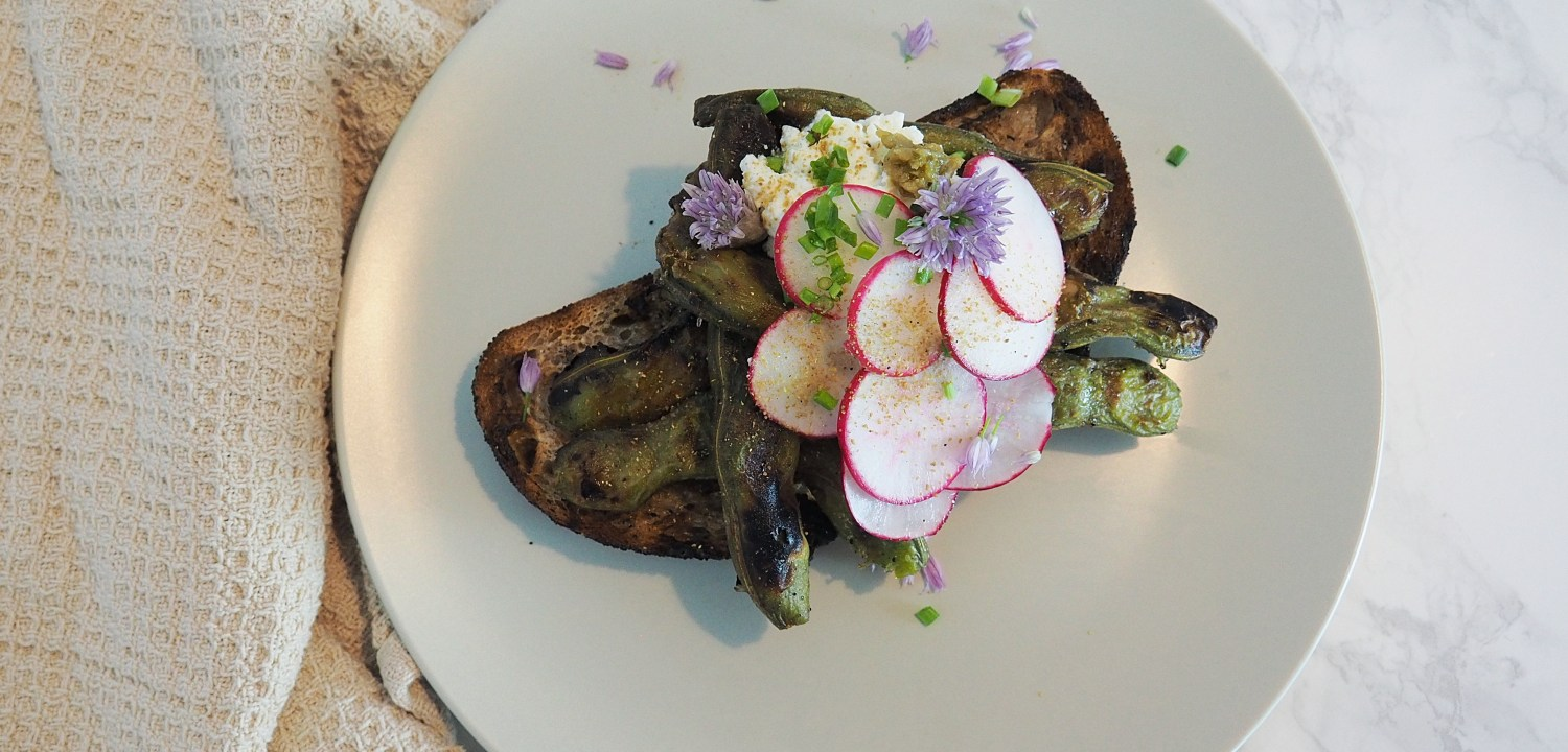 Grilled Favas with Ricotta and Yuzu Kosho