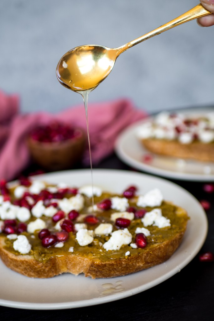 Pistachio Butter and Goat Cheese Toast