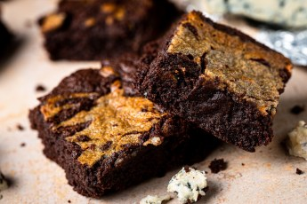 Header photo of blue cheese brownies.