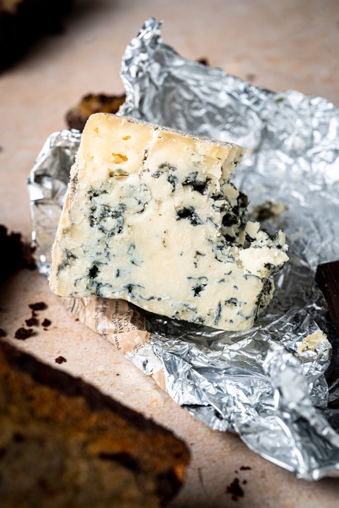 A hunk of blue cheese.