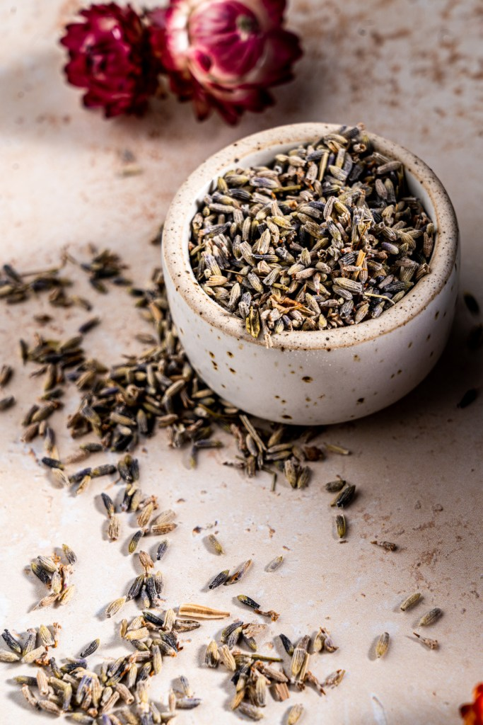 A small dish of dried lavender.