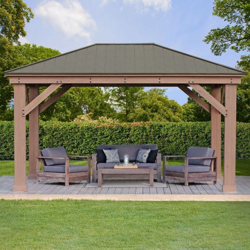 install only 12 x 16 wood gazebo with aluminum roof yardistry