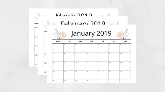 It's Here! Download Your Free 2019 Monthly Calendar Printable