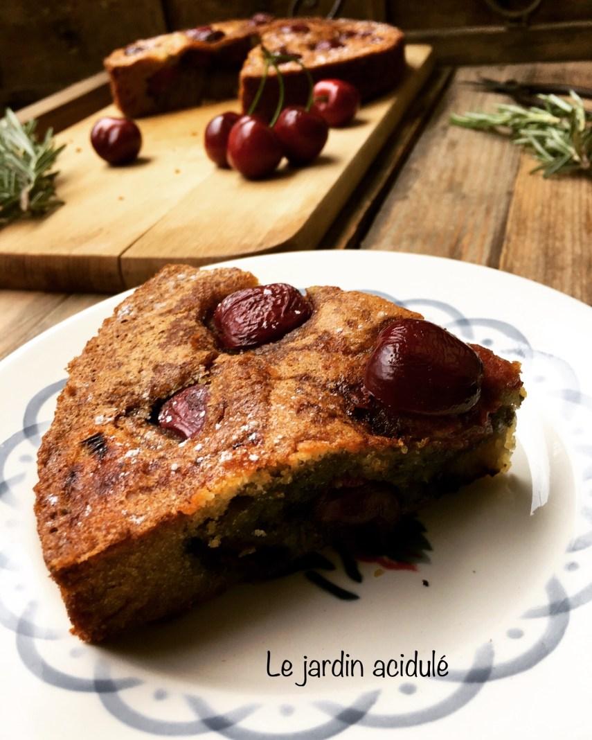 Gâteau huile d'olive cerises romarain 12