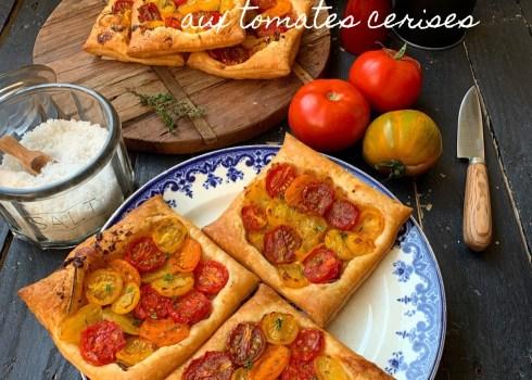 Tartes fines aux tomates cerises et aux échalotes