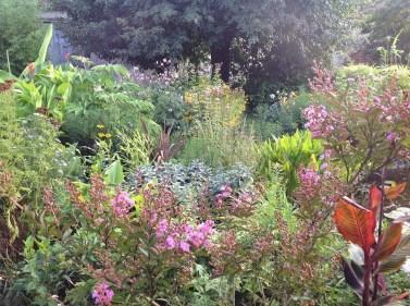 lilas des indes et vue du jardin le jardin d'épices Laurent Lafaille
