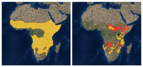 A gauche: l'aire de répartition des hyènes, à droite: l'aire de répartition des lions