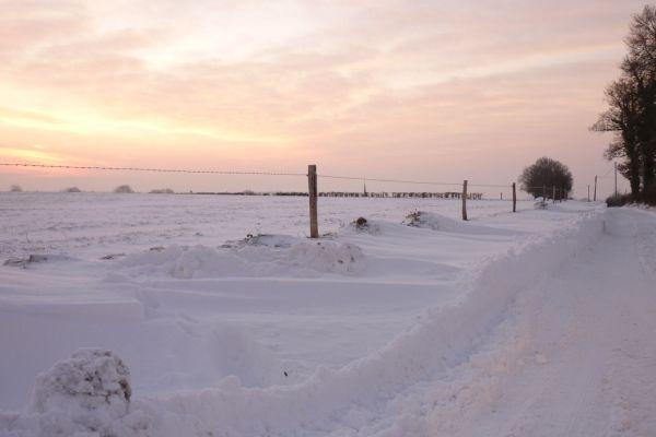 hiver et neige campagne normande