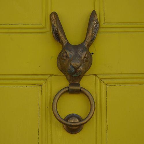 heurtoir de porte lapin jaune