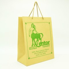 120g natural kraft paper with rope handles and a 1-colour print