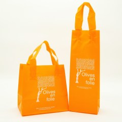 0.1mm high density PE bag in a vibrant orange with a  1-colour print to help identify the brand.