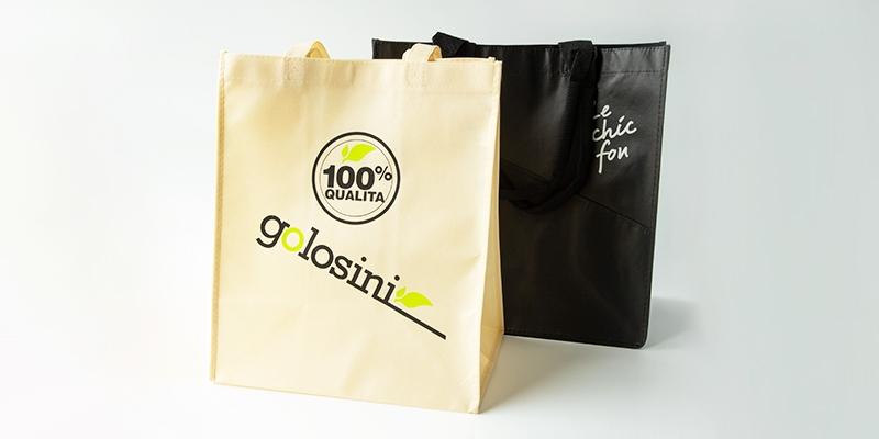 black reusable bag and golosini bag