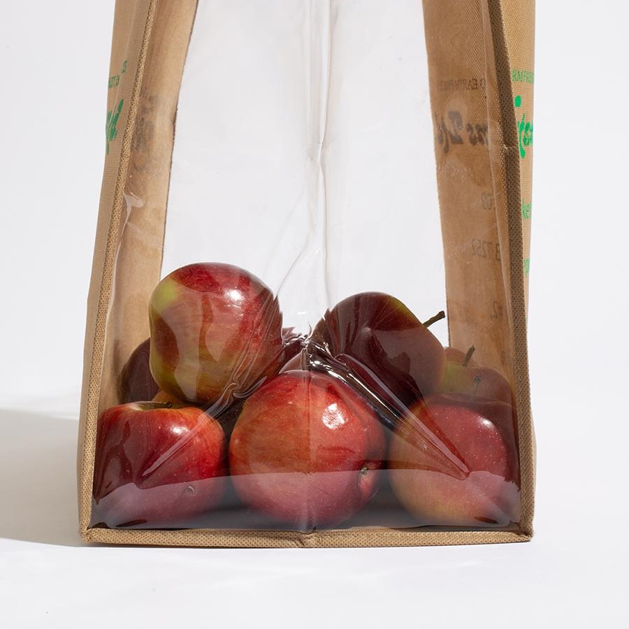 Apples in Fruit Picking Reusable Bag, transparent sides bag,
