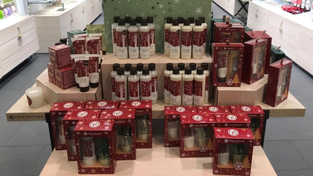 Yves Rocher holiday packaging in physical store