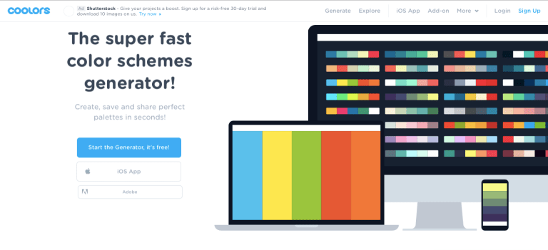 website, coolors, used for picking colour schemes