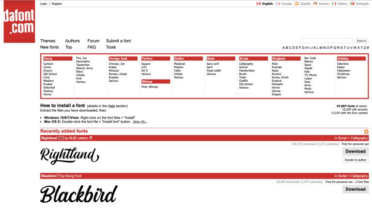 screen capture of dafont.com