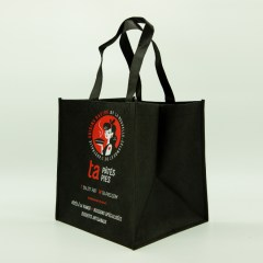 100g non-woven bag with a 2-colour print and wide, square base