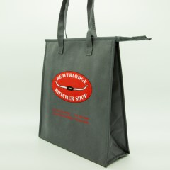 non-woven bag with additional insulation, zipper closure, 3-colour print and cross-stitch handles