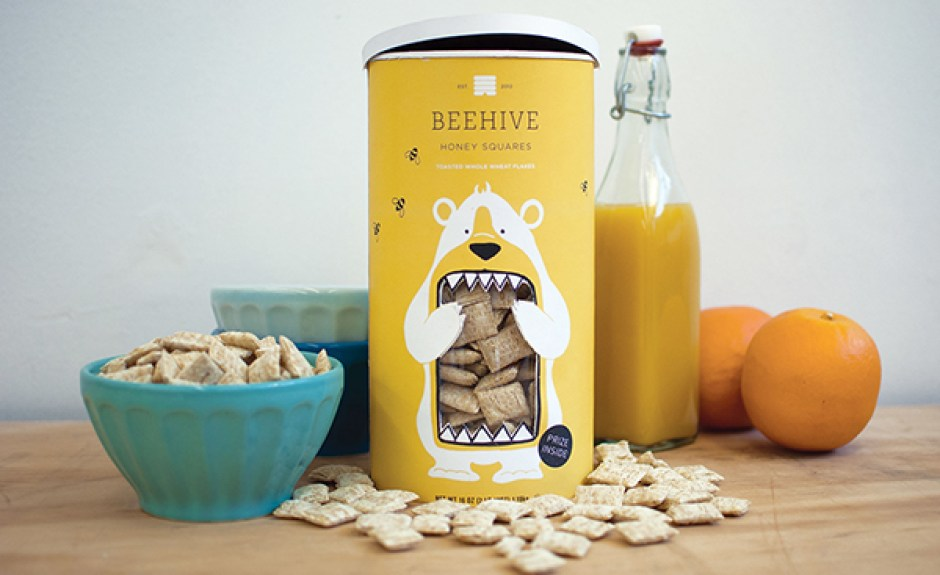 Beehive Honey Squares uses funny shape die-cut windows to show off its cereal.