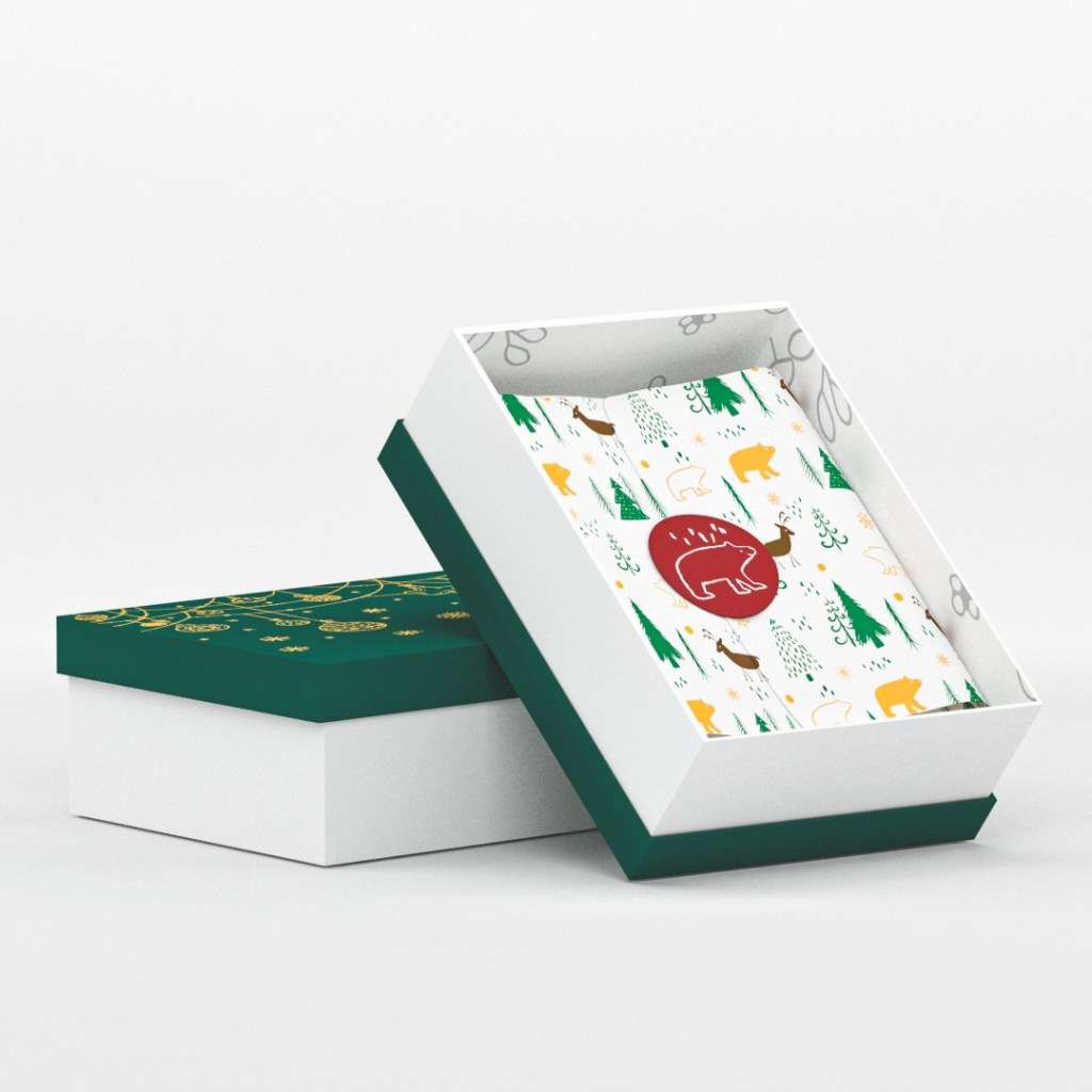 holiday packaging can be very illustrative with geometric shapes and designs
