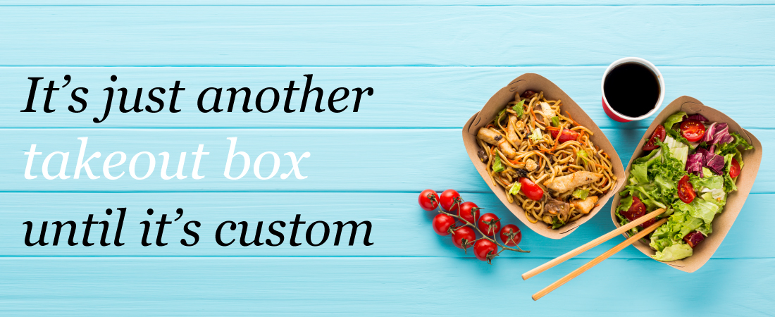 header image for takeout industry showing slogan and products