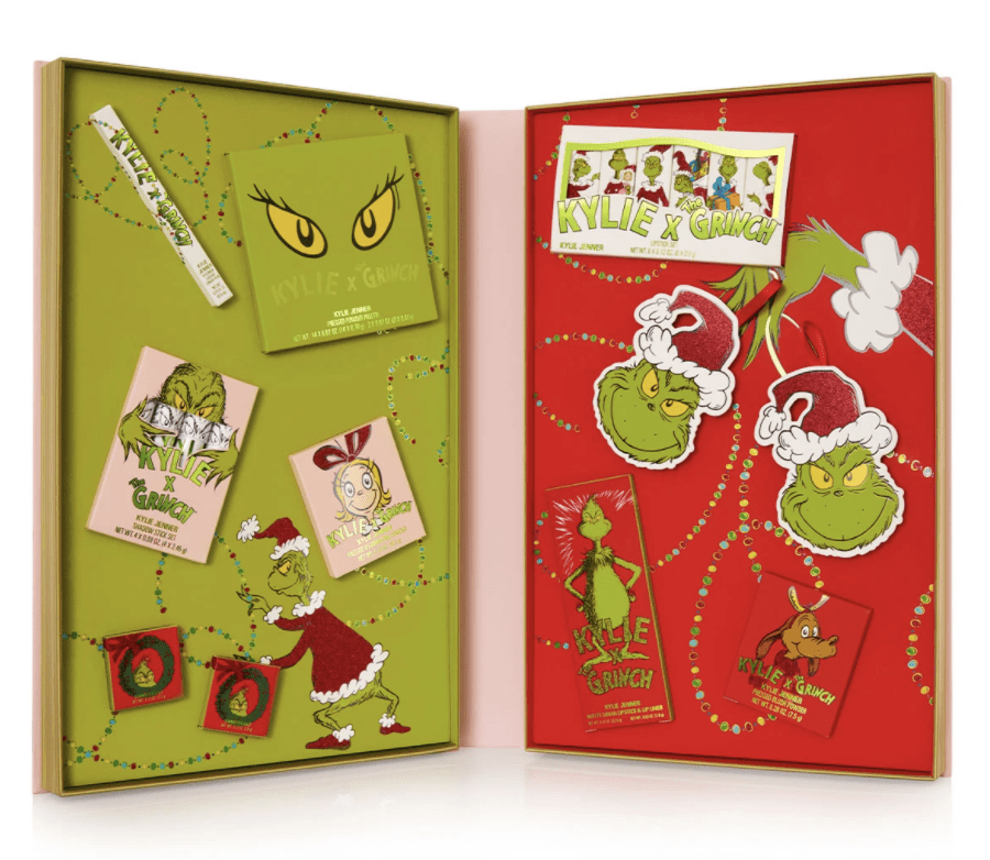 Kylie Cosmetic's packaging design for their holiday line: Kylie x The Grinch Collection.