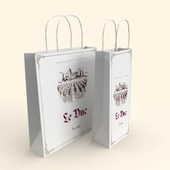 120g white Kraft paper bag options with full colour print and twisted paper handles - 2 sizes