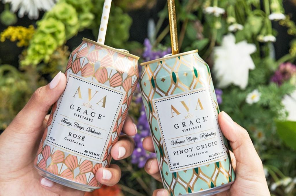 canned wine packaging for Ava brand