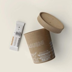 brown Kraft soup bowl with a one colour logo print and matching utensil bag
