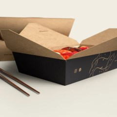 brown Kraft hot dish container with a one colour logo print