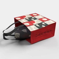 PP non-woven bag with a stamp checkerboard print and contrasting gusset and handle colours