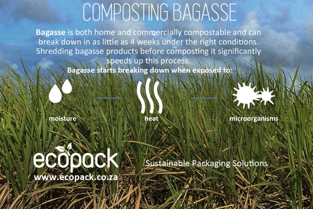 diagram explaining how sugar cane packaging is composted