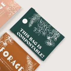compostable mailer shown in 3 different designs with custom stickers for extra security